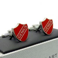 Genius Crest Novelty Cufflinks by Onyx Art in Gift Box CK928